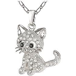U7 Cat Jewelry - 18K Gold Plated Rhinestone Crystal Kitty Cat Pendant Necklace