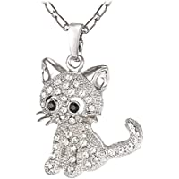 U7 Cat Jewelry Women Girls Link Fashion Platinum/18K Gold Plated Rhinestone Crystal Kitty Cat Pendant Necklace