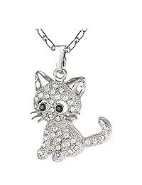 U7 Platinum/Gold Plated Rhinestone Cute Kitty Cat Pendant for Men Women Teens Necklace