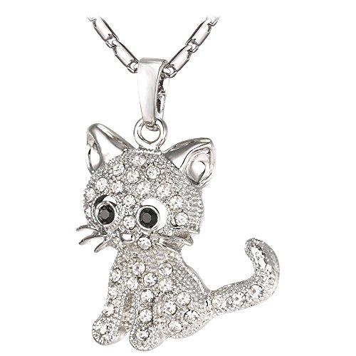 U7 Cat Jewelry Women Girls Link Fashion Platinum Plated Rhinestone Crystal Kitty Cat Pendant Necklace