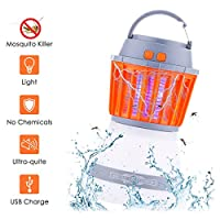 acetek Mosquito Killer Lamp 2 in 1 Camping Lantern Lights Bug Zapper Mosquito Repellent Outdoor Lantern Lights USB Charging UV IP67 Waterproof Bulb