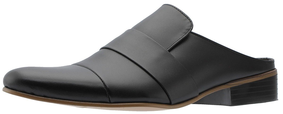 Holstyle Handmade Men's Pointed-toe Slip-on Leather Straight-tip Dress Slippers Mules & Clogs Slip-On Slippers Shoes HSB-6525SL black 9 by Holstyle