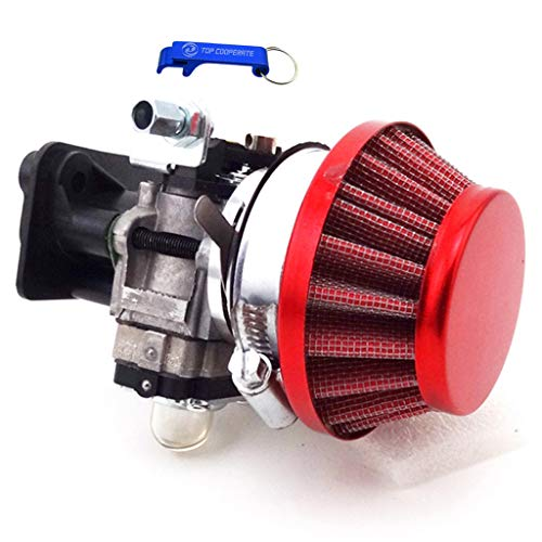 (TC-Motor 15mm Carburetor Carb Red Air Filter Manifold Inatake Pipe Inlet Alloy Stack Kit For 2 Stroke 33cc 43cc 49cc 50cc 52cc Engine Goped EVO Gas Scooter Cat Eye Pocket Bike )