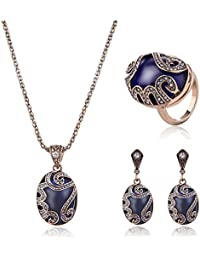Women's Luxury Rhinestone Ring Cutout Pendent Necklace Earrings Cocktail Jewelry Set
