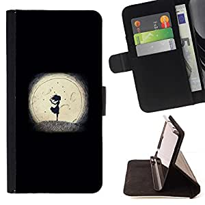 Momo Phone Case / Flip Funda de Cuero Case Cover - Noche minimalista Muchacha Romántica - LG OPTIMUS L90