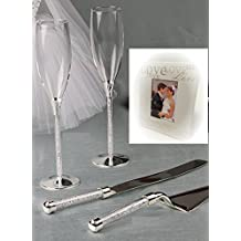 RaeBella Wedding Toasting Flutes & Cake Knife Server Set Tube Stem with Crystal Stones Filled Stemmed