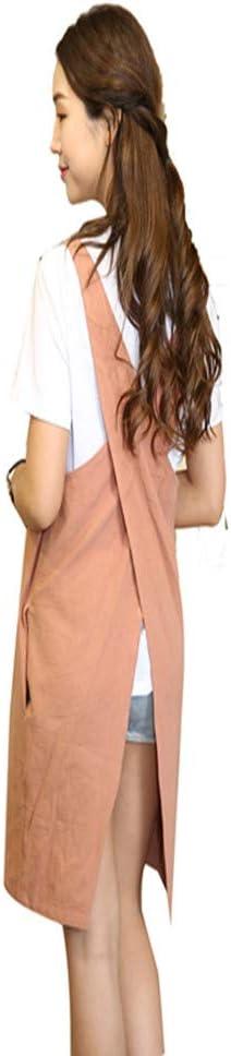 KKTech Japan Style Soft Cotton Linen Apron Solid Color Halter Cross Bandage Aprons Kitchen Cooking Clothes (Orange red)