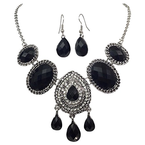 Teardrop & Ovals with Rhinestones Boutique Style Trendy Necklace & Earrings Set (Black Silver Tone)