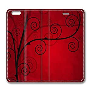 iPhone 6 Case, iPhone 6 Leather Case, Fashion Protective PU Leather Slim Flip Case [Stand Feature] Cover for New Apple iPhone 6(4.7 inch) - Rose Thorns Vector Art