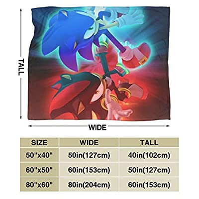 Hsanfwnzl Sonic The Hedgehog Kids/Adult Blanket Super Soft Throw Blanket Reversible Microfiber Premium Flannel Blankets for Couch, Bed, Sofa 80