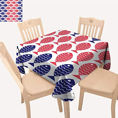 UHOO2018 Fitted Polyester Tablecloth  Nautical Fish Design Element for Wallpapers Baby Shower Invitation Square/Rectangle Washable for Tablecloth,50x 55inch -