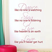 ¡°Like Heaven Is On Earth Like You¡¯ll Never Get Hurt¡± Warm Letters Wall Stickers For Home (Medium,The big words:Soft Pink ; the small words:Tomato Red)