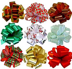 "Amazon.com: Christmas Gift Pull Bows - 5"" Wide, Set of 9 ..."