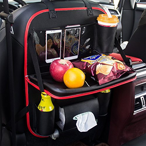 YGMONER Car PU Leather Storage Bag Back Seat Organizer Holder Pockets Folding Table Drink Food Cup Tray Holder Stand Desk (black&red)