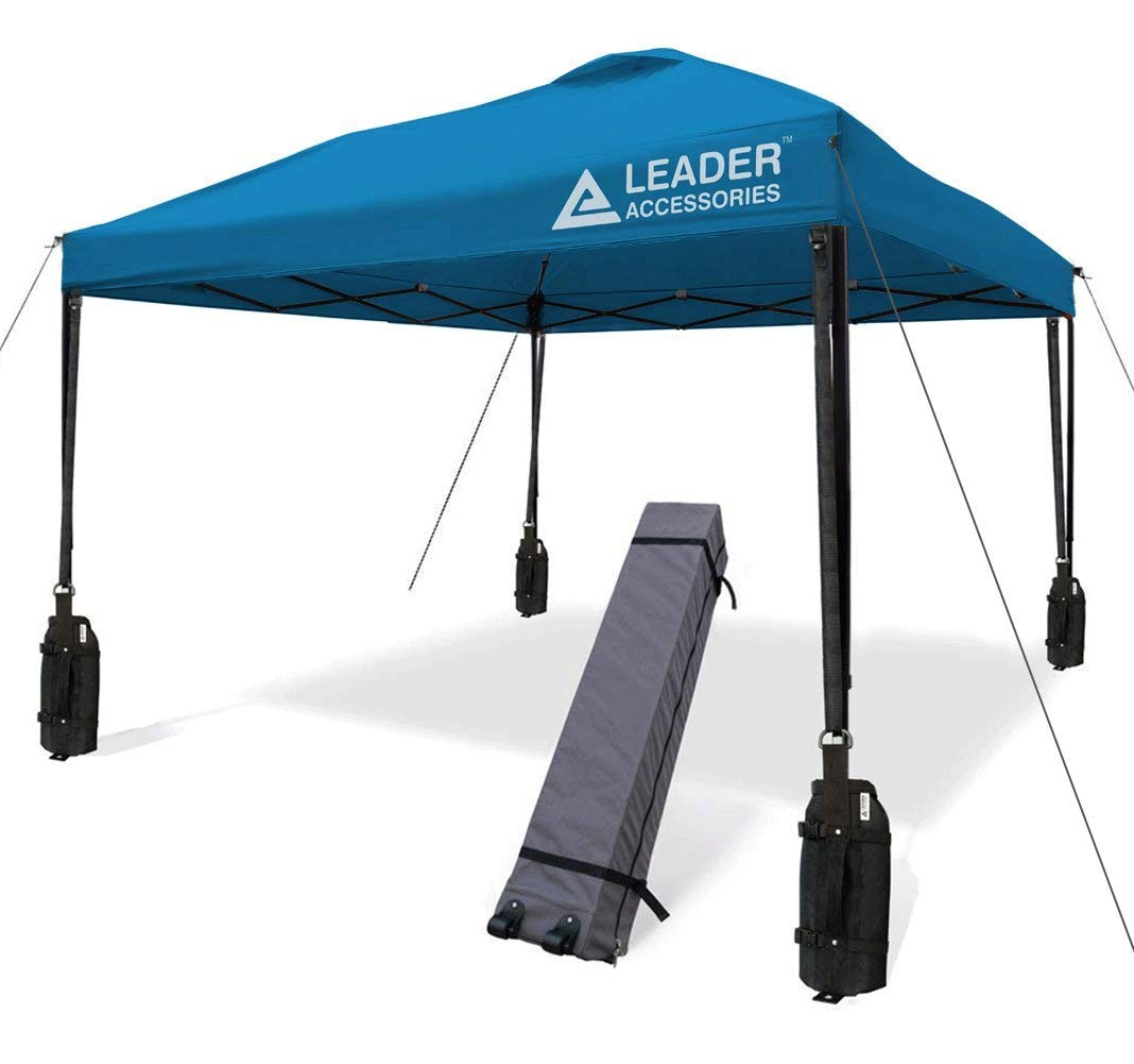 Leader Accessories 10' x 10' Instant Canopy with 4-Pack Canopy Weights & One Wheeled Carry Bag (Blue)