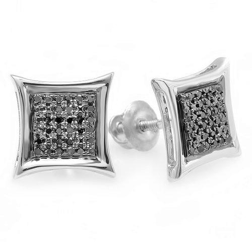 Dazzlingrock Collection 0.15 Carat (ctw) 10K Black Round Diamond Micro Pave Setting Kite Shape Stud Earrings, White Gold ()