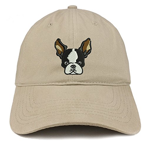 Trendy Apparel Shop Boston Terrier Embroidered Brushed Cotton Dad Hat Ball Cap - Khaki (Terrier Embroidered Cap)