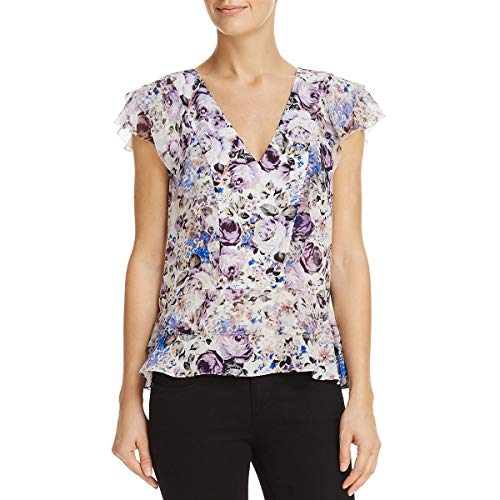 Parker Womens Evelyn Silk Floral Print Blouse White S