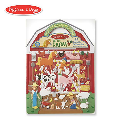 Reusable Clear Screen - Melissa & Doug On the Farm Puffy Sticker Play Set (Activity Pads, Reusable Puffy Sticker Play Set, Double-Sided Background, 52 Stickers)