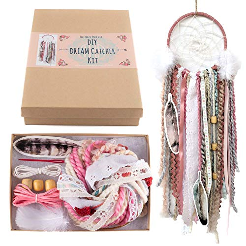 Pink DIY Dream Catcher Kit Craft Project Do It Yourself Birthday Gift for Girls -