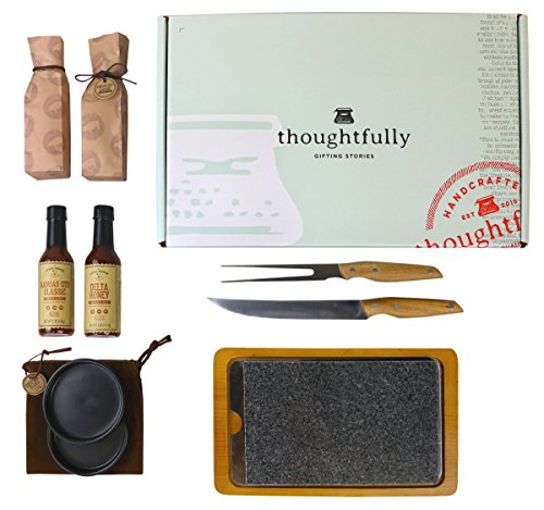 Price comparison product image The Steakhouse Gift Box by Thoughtfully,  Intended for the Serious Gourmand This Set Includes A Granite Meat Searing Stone,  Wood Tray,  Carving Knife & Fork,  4 BBQ Sauces & Dipping Bowls