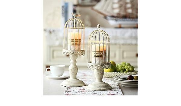 Europea de hierro jaula creativa casa blanca candelero decoración ...