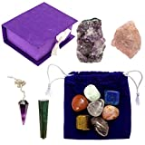 13pcs Chakra Crystal Stones / Meditation/ Healing / Reiki Kit / All 7 Essential Chakra Stones / Additional Raw Crystals For Rooting, Energizing, Balancing / Amethyst Pendulum / Bag and Storage Box