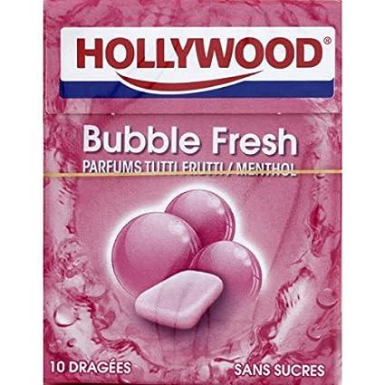 Hollywood   Bubble Fresh Parfum Tutti Frutti Menthol   Le Paquet De 70g   Price Per Unit by Epicerie Sucrée