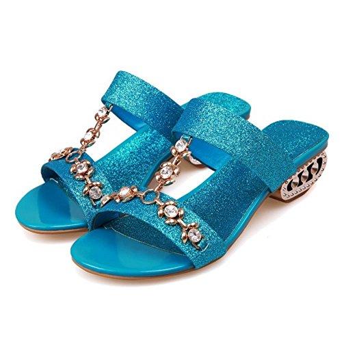 RAZAMAZA à Enfiler Sandales Femmes Blue Salomés xqaOwFP