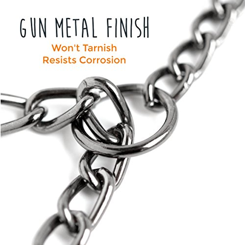 Image of Mighty Paw Gun Metal Chain Training Collar, Martingale Collar, Limited-Cinch Chain Metal Collar