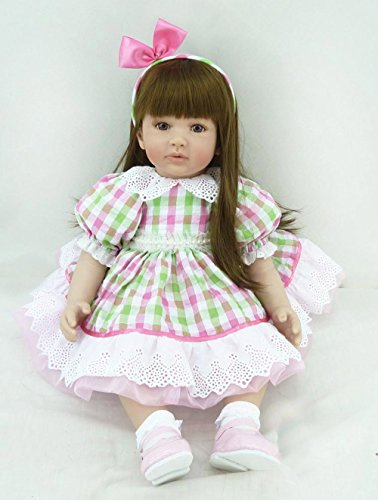 PURSUEBABY Real Life Reborn Toddler Dolls with Long Hair Elena, 24 inch Soft Body Lifelike Weighted Baby Girl Doll Cuddle for Children
