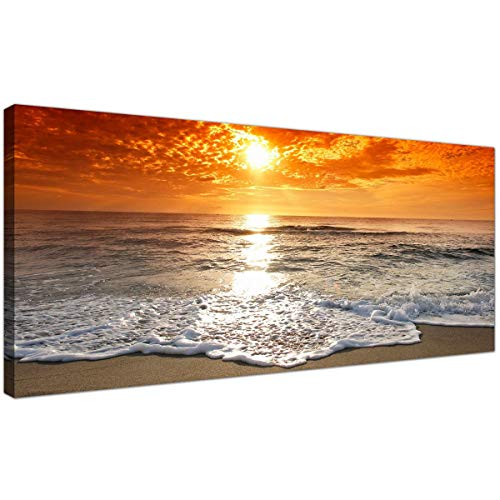 Cheap Canvas Pictures of a Tropical Beach Sunset for your Bedroom - Panoramic Seaside Wall Art - 1152 - Wallfillersby Wallfillers