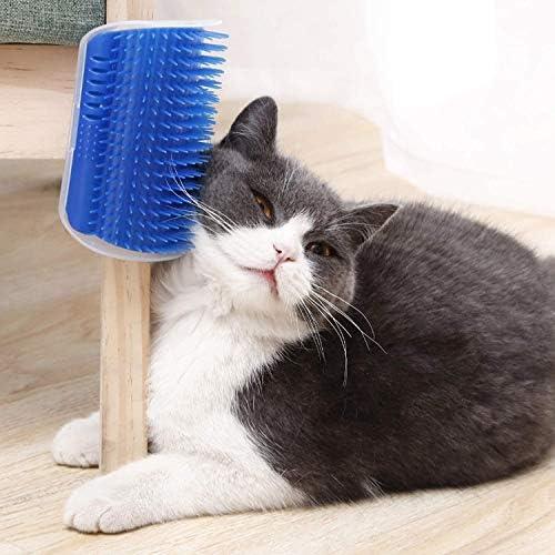 Qisiewell Brosse auto-toilettage pour chat - Bleu - Jouet pour chat - Poils longs et courts (bandes adhésives incluses)