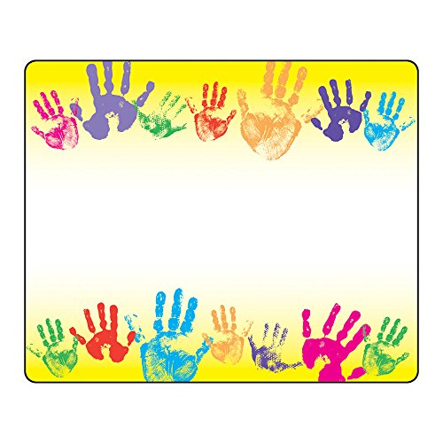 Trend Enterprises Rainbow Handprints Name Tags, 36 per Package (Self Adhesive Handprints Name Tags)