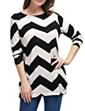 Allegra K Women Round Neck Contrast Zig-Zag Pattern Knitted Shirt Black White L
