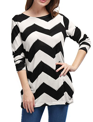 Allegra K Women's Round Neck Contrast Zig-Zag Pattern Knitted Shirt L Black White ()