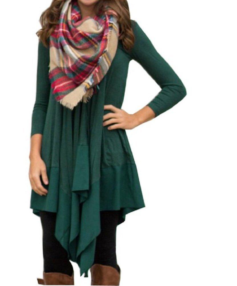SexyTown Women's Long Sleeve Tunic Shirt Dress Loose Casual Dress (Large, Style2-Green)