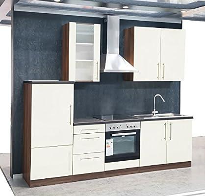 Mebasa MCUKB27NV cocina, moderna cocina, cocina de 270 cm brillante, cocina incluye empotrables - frigorífico empotrable a