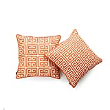 Hofdeco Decorative Throw Pillow Cover INDOOR OUTDOOR WATER RESISTANT Canvas Maple Orange Greek Key 18''x18'' Set of 2