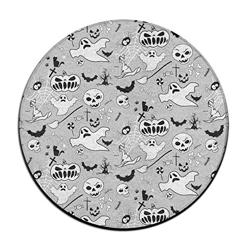 Hawaiian Waves Non-Slip Soft Rug Mats Halloween Doodle Pattern Seat Cushion (16 Inch) Round Car Chair Cushion Pad Slipcover -