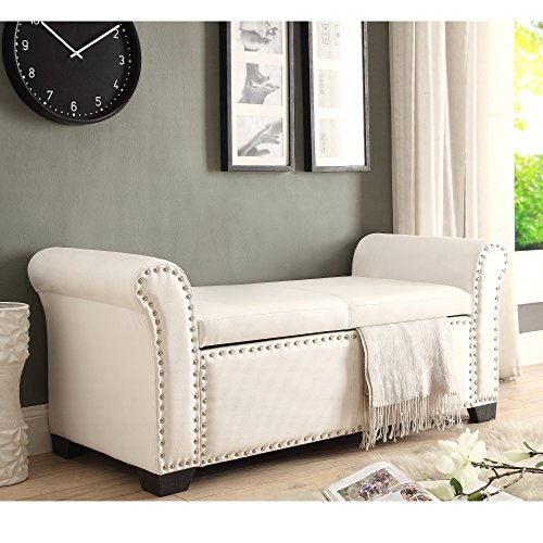Ivory Pu Leather (Inspired Home Noah PU Leather Modern Contemporary Nail Head Trim Storage Ottoman Bench, Ivory)