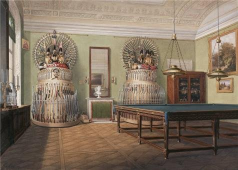 'Hau Edward Petrovich,Interiors Of The Winter Palace,The Billiard Room Of Emperor Alexander II,1807-1887' Oil Painting, 16x22 Inch / 41x57 Cm ,printed On Polyster Canvas ,this High Resolution Art Decorative Canvas - 1887 Oil Paintings