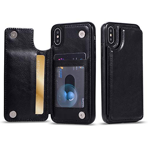 iPhone XR Case, iPhone XR Wallet Case,FLYEE Wallet Card Holder Slim PU Leather Phone Case with 3 Cards Slots Phone Cover Credit Card Holder for iPhone XR 6.1 inch Black