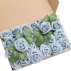 Ling's moment Artificial Flowers 2 inch Celestial Blue Artificial Roses and Rose Buds Pack of 24 for DIY Wedding Bouquet Boutonniere Corsage Floral Decor 78