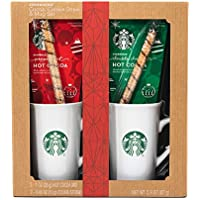 Starbucks Cozy Cocoa Gift Set Contains Double Chocolate Cocoa Mix, Peppermint Cocoa Mix, 2 Cookie Straws and 2 Ceramic Mugs