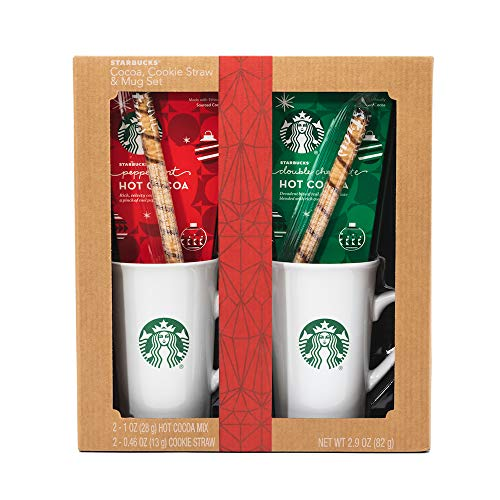 - Starbucks Cozy Cocoa Gift Set | Contains Double Chocolate Cocoa Mix, Peppermint Cocoa Mix, 2 Cookie Straws and 2 Ceramic Mugs