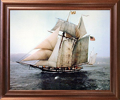 Picture Sailboat (The Pride of Baltimore Sailing Vessel Sailboat Vintage Ship Wall Decor Mahogany Framed Picture Art Print Poster (18x22))