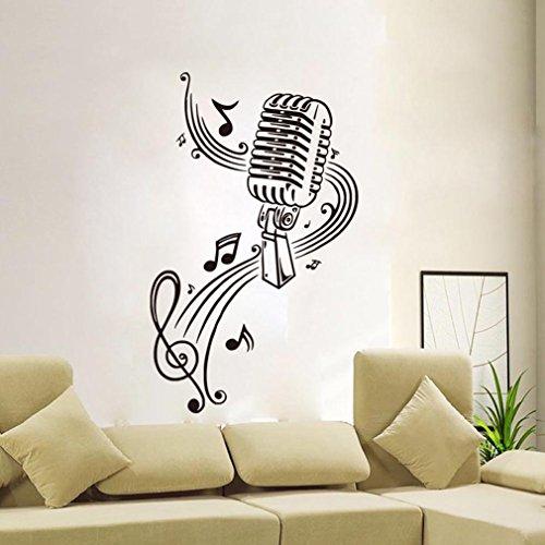 BIBITIME Classroom Vinyl Decal Music Karaoke Microphone Wall Art Musical Notes Vinyl Sticker for KTV Bar Background PVC Decorations M:22.44