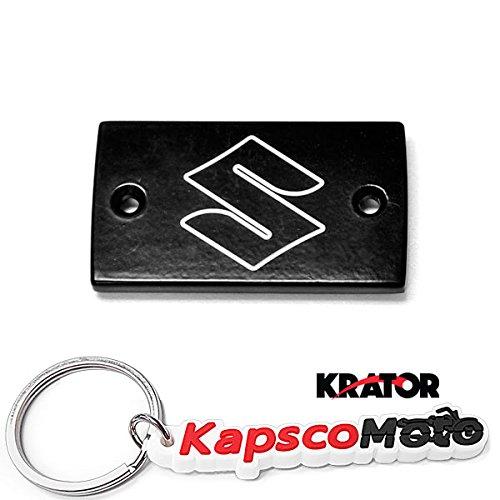 Krator Suzuki Black Billet Fluid Reservoir Cap Logo Engraved - Boulevard M50 S50 C50 S83 C90 (All Years) + KapscoMoto Keychain