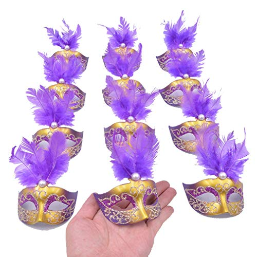 Yiseng 12pcs Luxury Pearl Feather Mini Masks Venetian Masquerade Party Decoration Novelty Gifts (Purple) (Mask Masquerade Pearl)